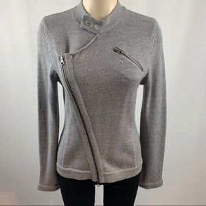 BCBGMaxazria Grey Wool Knit Moto Style Cardigan L